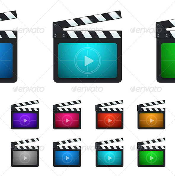 Vector Movie Production Clapboard Icons - Media Icons