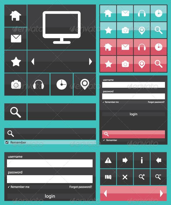 Flat Web Elements Icons - Web Elements Vectors