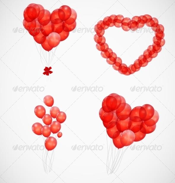 Balloon Heart Illustration Background - Decorative Symbols Decorative