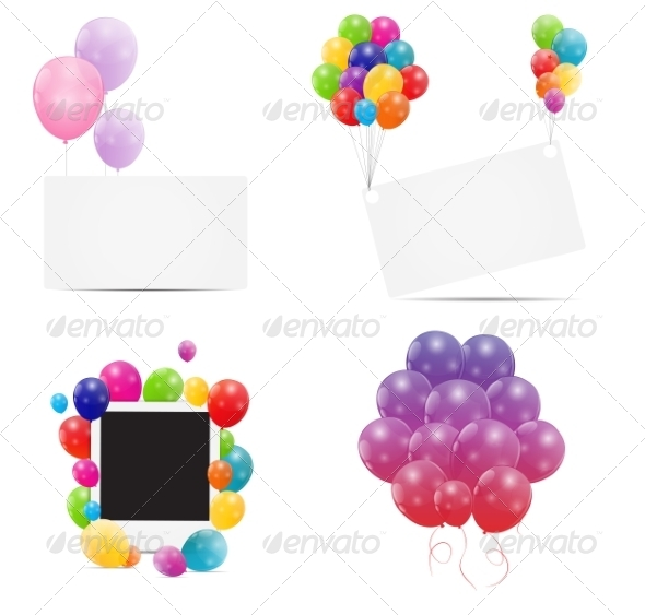 Color Glossy Balloons Card Backgrounds - Decorative Symbols Decorative