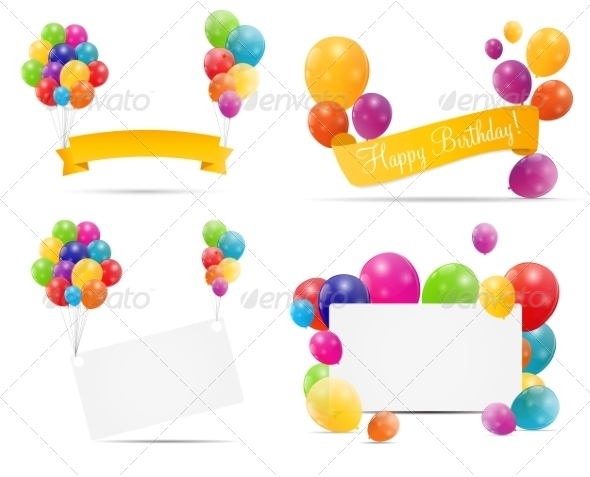 Color Glossy Balloon Backgrounds - Decorative Symbols Decorative