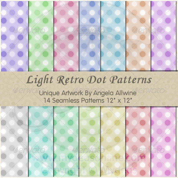 Light Retro Dots Pattern Set - Patterns Backgrounds