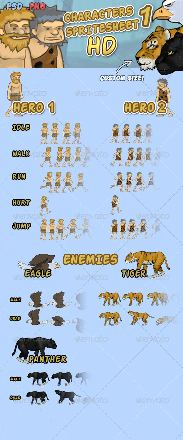 Character Spritesheet 1 HD - Sprites Game Assets