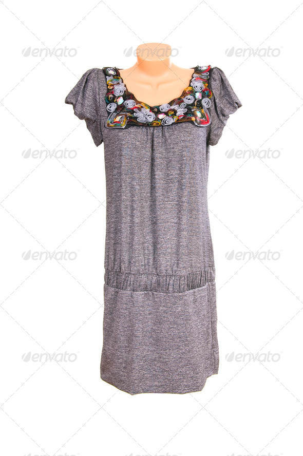 Modern chic gray dress on a white. - Stock Photo - Images