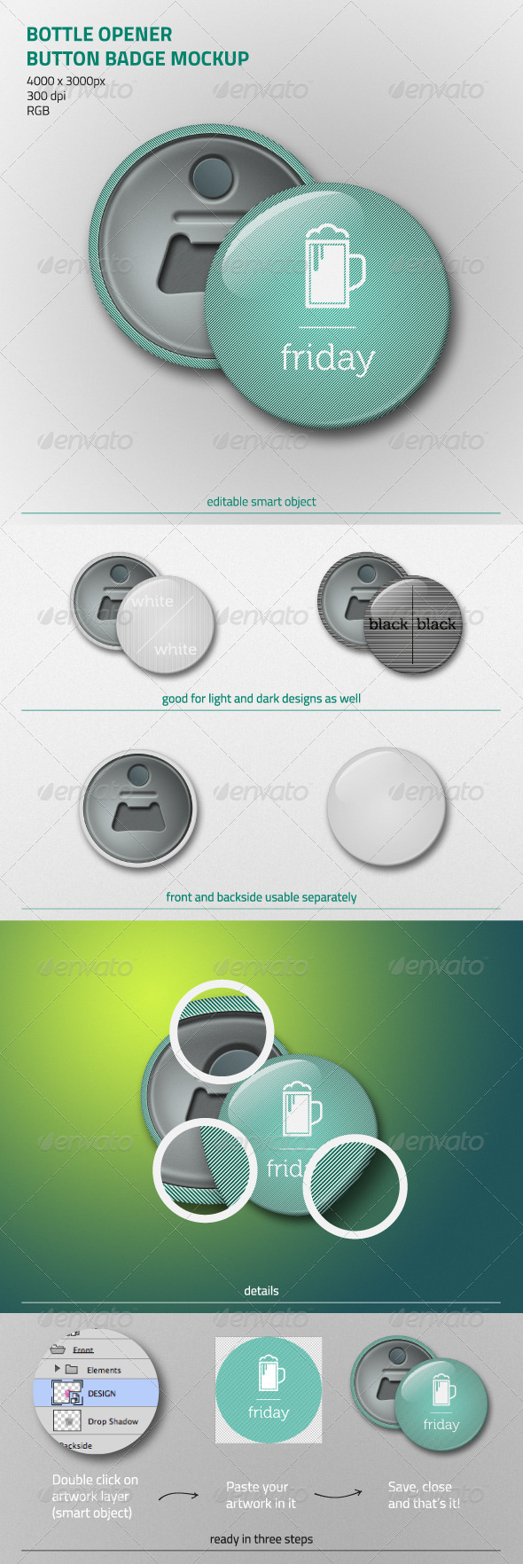 Bottle Opener Button Badge Mockup - Miscellaneous Print