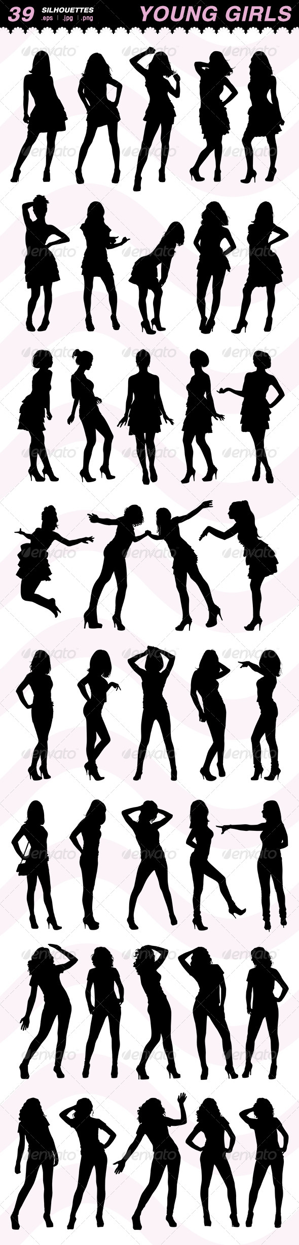 Silhouettes of Young Girls - People Characters