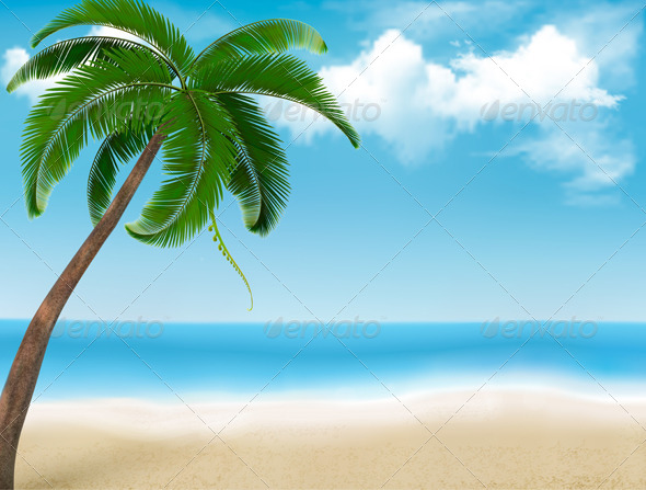 Background with Palm Tree and Blue Sky - Travel Conceptual