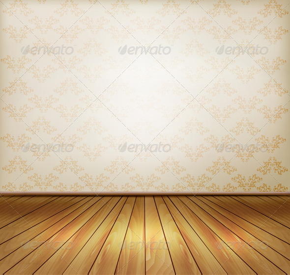 Background with Old Wall and a Wooden Floor - Backgrounds Decorative