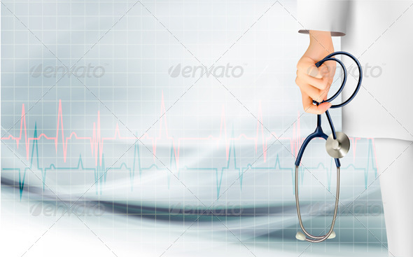 Medical Background with Hand Holding a Stethoscope - Health/Medicine Conceptual