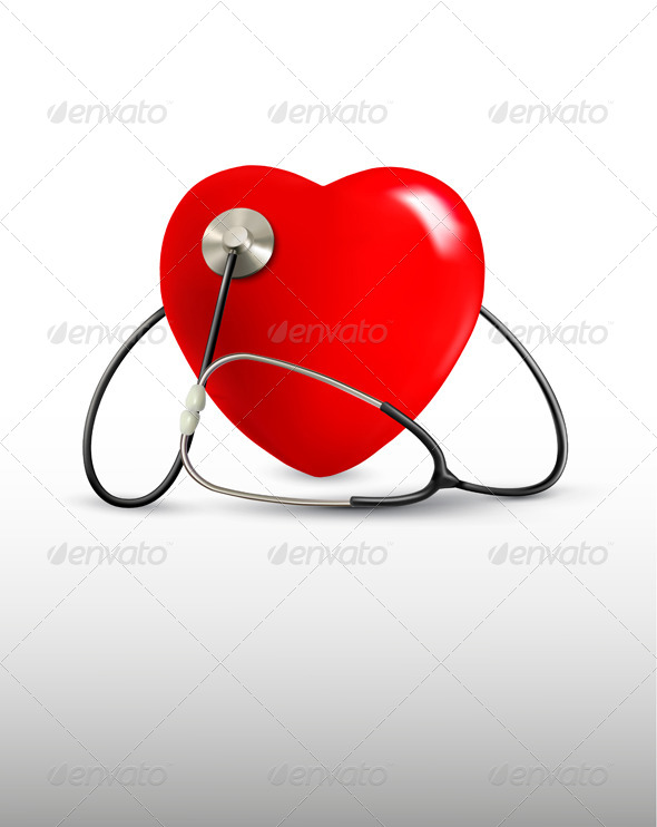 Background with a Stethoscope and a Heart - Health/Medicine Conceptual