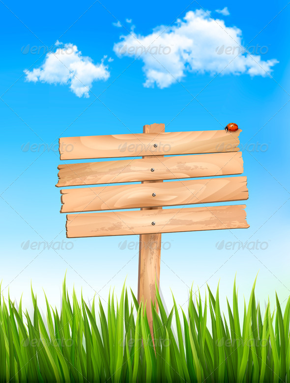 Nature Background with Wooden Sign - Nature Conceptual