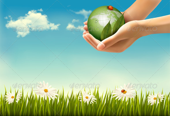 Nature Background with Hands Holding a Globe - Nature Conceptual