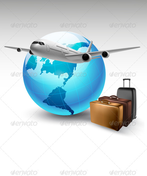 Background with Airplane and Globe Travel Concept - Travel Conceptual