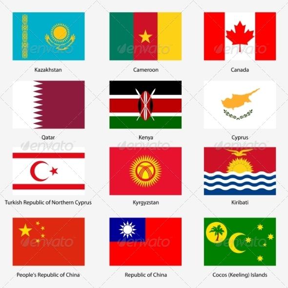 Flag Set of World Sovereign States - Web Elements Vectors