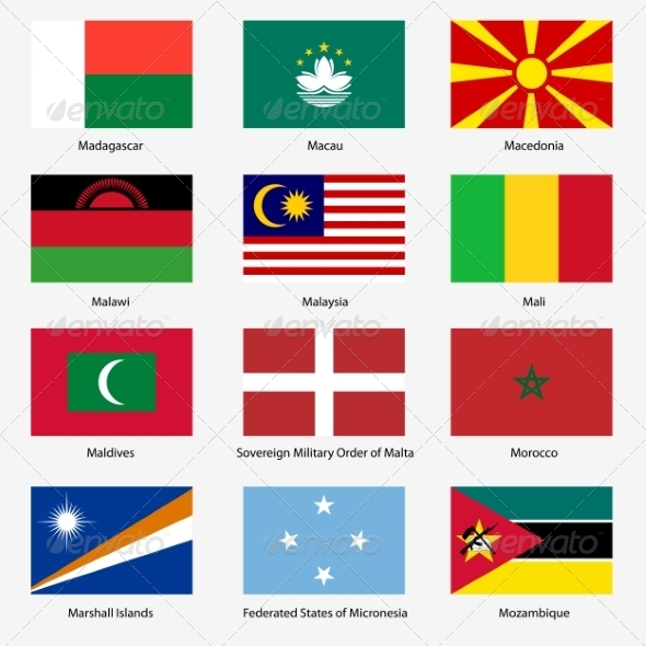Flag Set of World Sovereign States - Web Elements Vectors