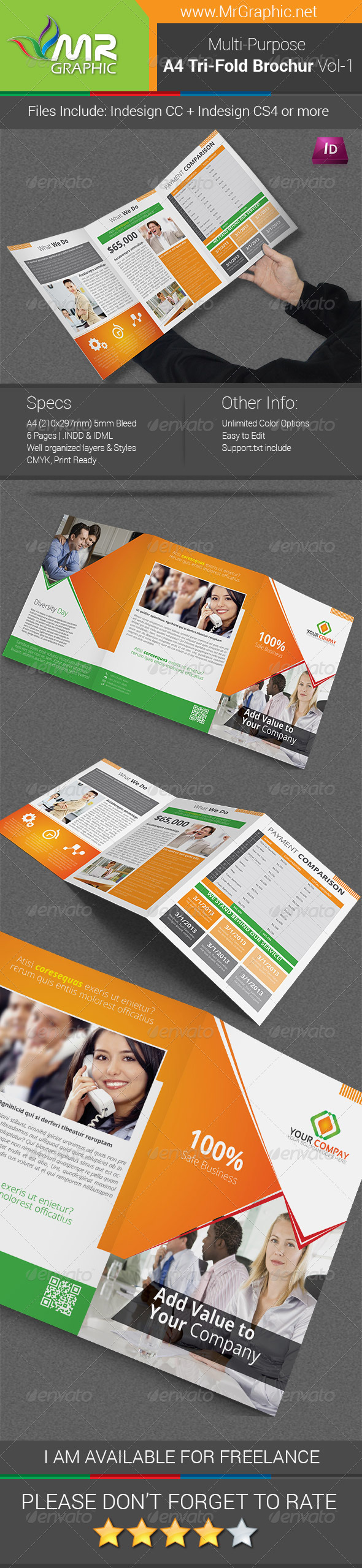 Multipurpose A4 Tri-Fold Brochure Template Vol-1 - Corporate Brochures