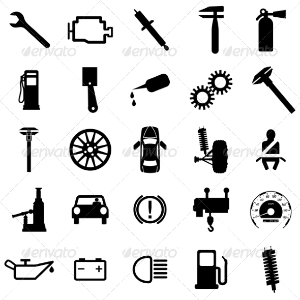 Collection of Flat Car Icons - Web Elements Vectors