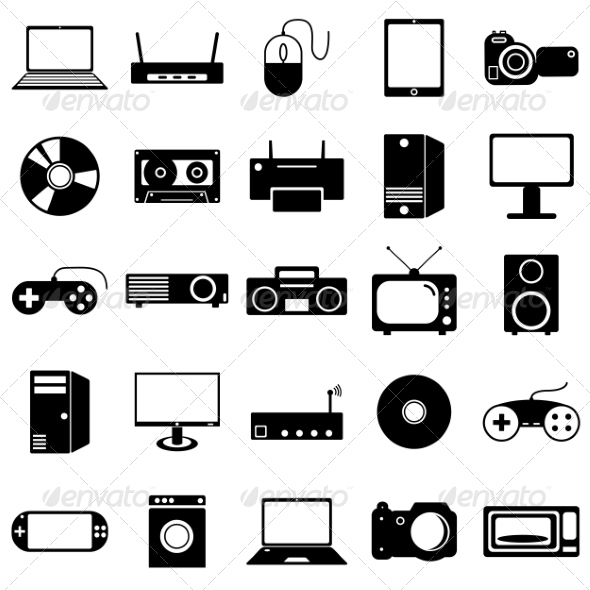 Collection of Electronic Device Icons - Web Elements Vectors