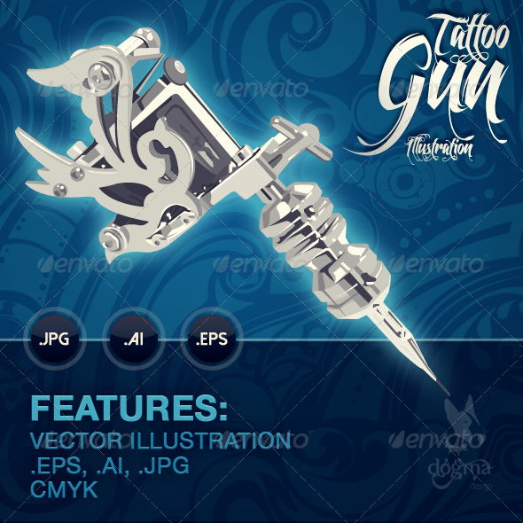 Tattoo Gun Illustration - Tattoos Vectors