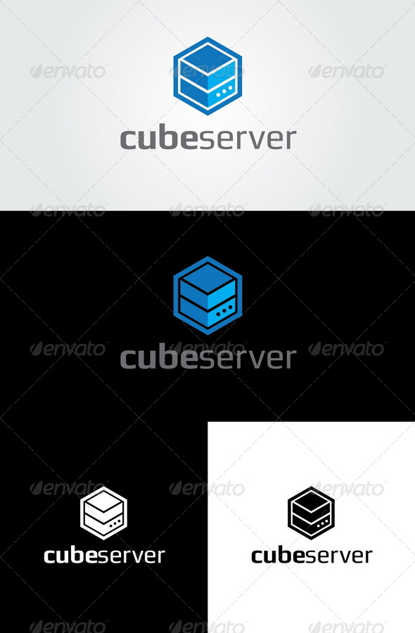 Cube Server Logo Template - Vector Abstract