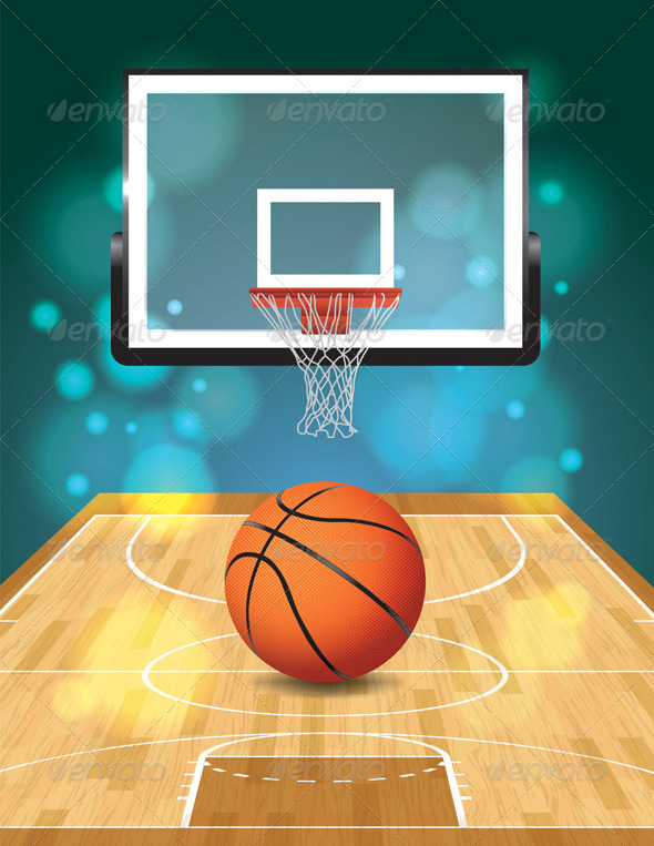 Vector Basketball Court Illustration - Sports/Activity Conceptual