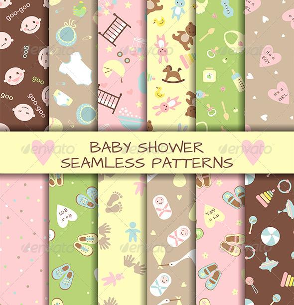 Set of Baby Shower Seamless Patterns - Birthdays Seasons/Holidays