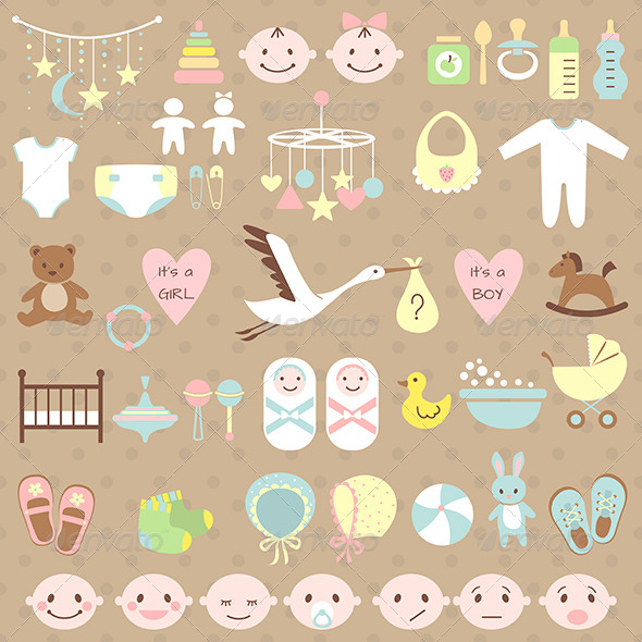 Set of Baby Shower Elements - Birthdays Seasons/Holidays