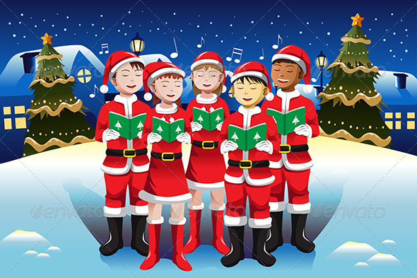 Children Singing in Christmas Choir - Christmas Seasons/Holidays