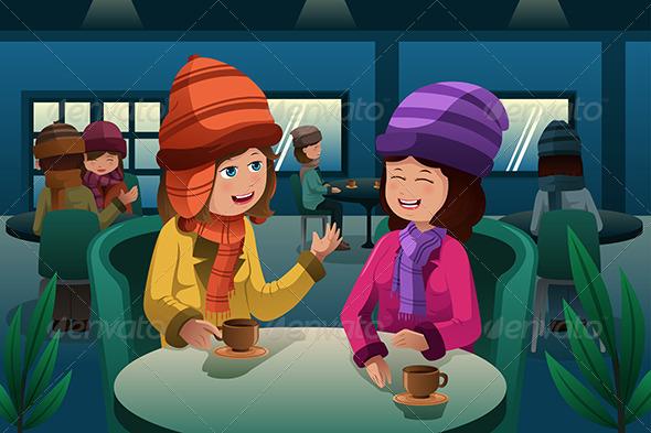 People Drinking Coffee - People Characters