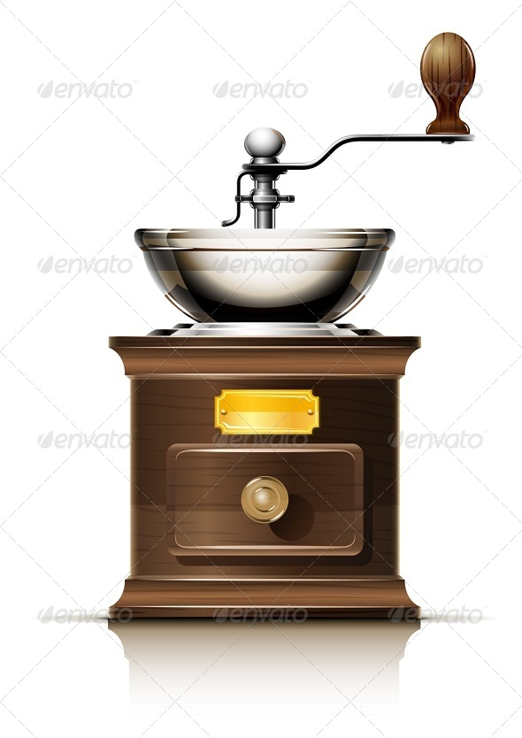 Classic Coffee Grinder in Wooden Case - Man-made Objects Objects