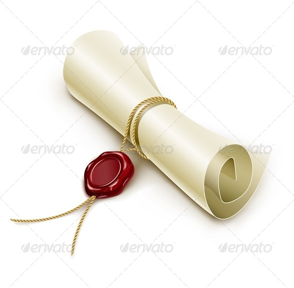Scroll Paper with Seal of Sealing Wax - Man-made Objects Objects