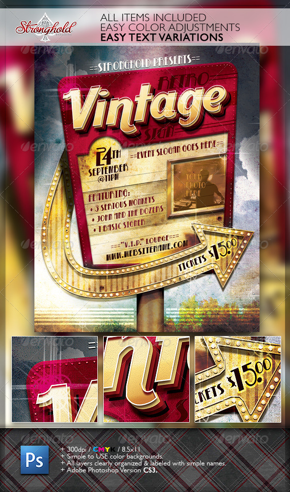 Retro Vintage Sign Event Flyer Template By Getstronghold