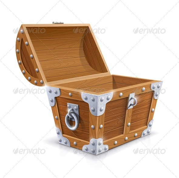 Vintage Wooden Chest with Open Lid - Man-made Objects Objects