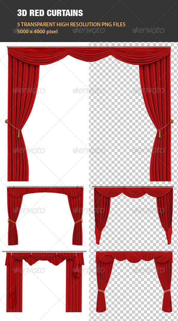 3D Red Curtains - Objects 3D Renders