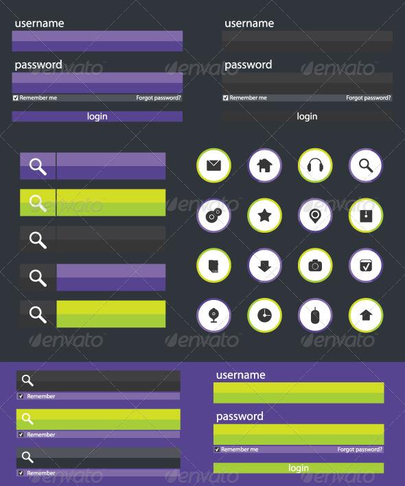 Flat Web Design Elements Illustration - Web Elements Vectors