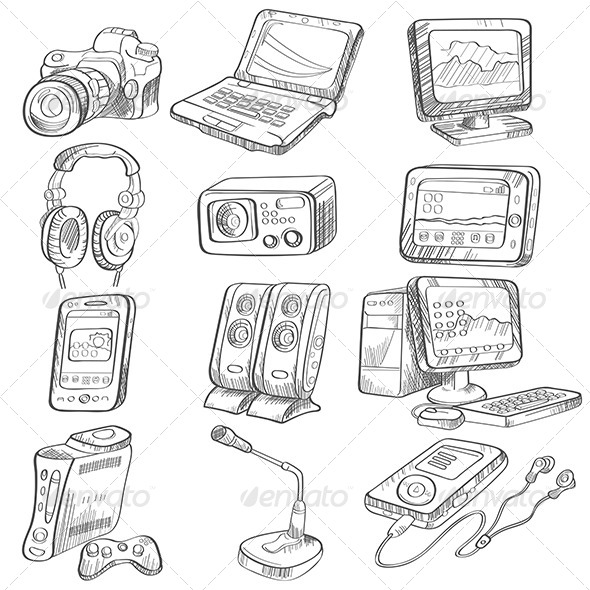 Pencil Drawing of Electronic Gadget - Technology Conceptual
