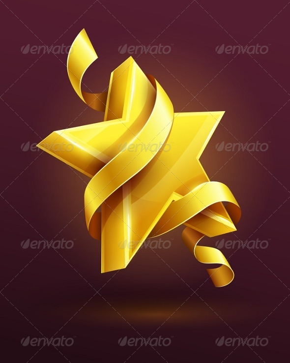 Gold Star with Ribbon - Man-made Objects Objects