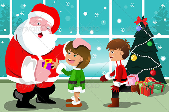Little Kids with Santa Claus - Christmas Seasons/Holidays