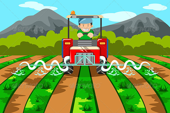 Farmer Watering the Farm with Tractor - People Characters