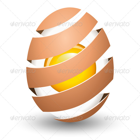 Abstract Egg with Yolk on White Background - Food Objects