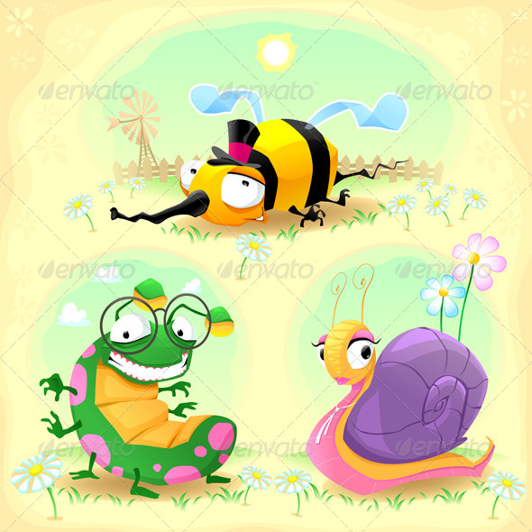 Two Insects and One Snail - Animals Characters