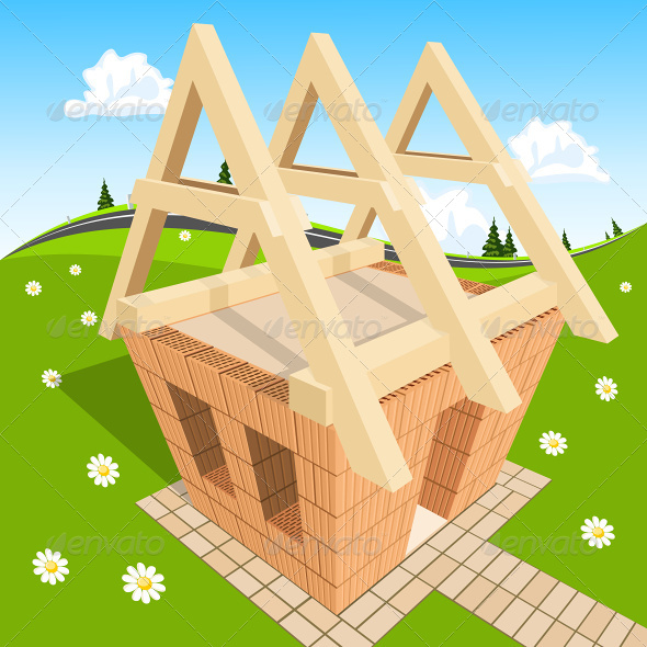 Unfinished House on Green Grass - Buildings Objects
