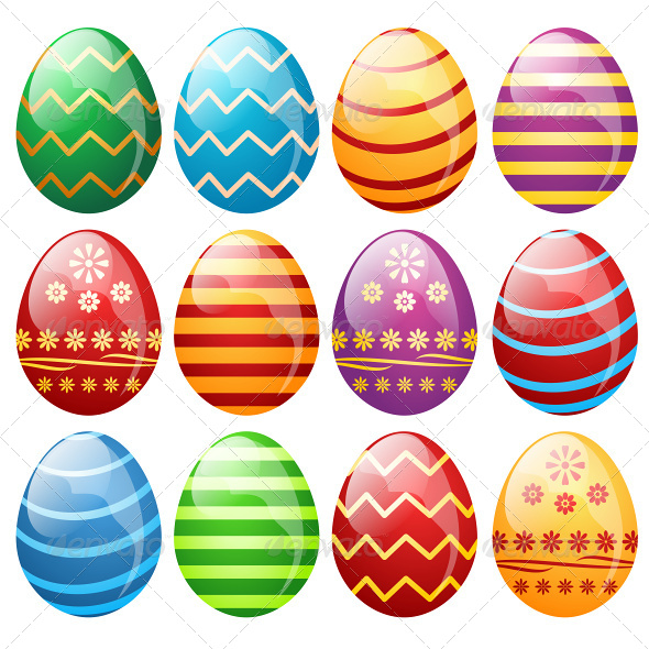 Set of Easter Eggs - Seasons/Holidays Conceptual