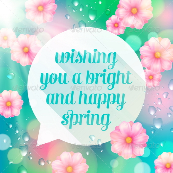 Abstract Speech Bubble Banner with Spring Greeting - Seasons/Holidays Conceptual
