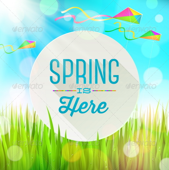 Spring Greeting Banner on a Sunny Landscape - Seasons Nature