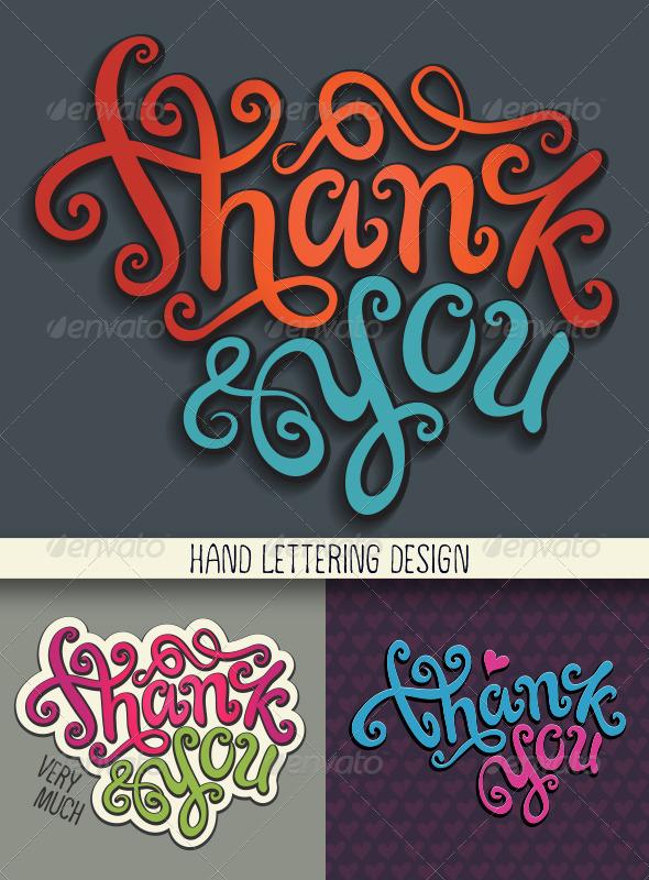 Thank You Hand Lettering Set - Decorative Vectors