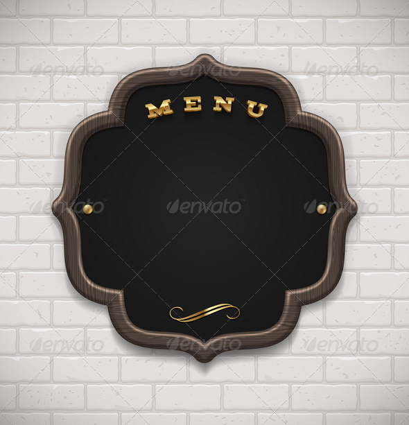 Menu Chalkboard in Wooden Frame on Brick Wall - Decorative Vectors