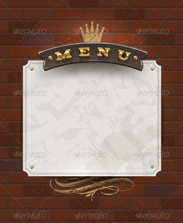 Menu Signboard and Paper Banner on Brick Wall  - Decorative Vectors