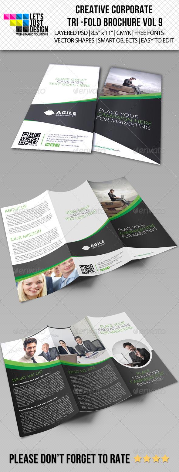 Creative Corporate Tri-Fold Brochure Vol 9 - Brochures Print Templates