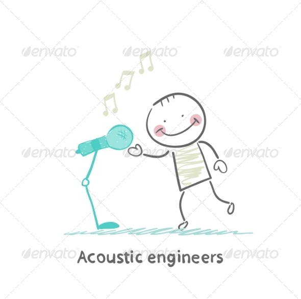 Acoustic Engineer Speaks into the Microphone - People Characters